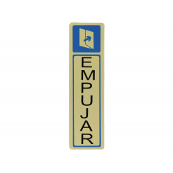 """Placa """"Empujar"""" 163x45mm. Aluminio oro de Amig"""